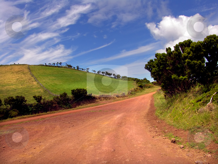 Road stock photo, Big red road in sao jorge island, azores by Rui Vale de Sousa