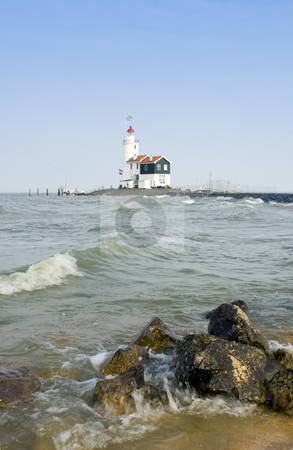 Dutch Lighthouse stock photo, The famous lighthouse at Marken, aptly called