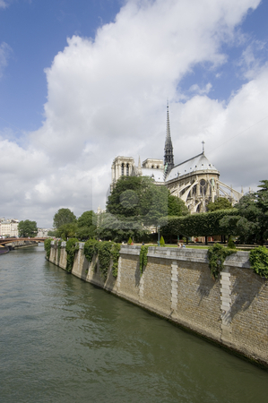 Notre Dame Perspectives stock photo, A view over the River Seine in Paris, France, with the majestic Cathedral the Notre Dame, situated on Ile de la Cit? on the left. The perspective  shows the cityscape of paris with the Notre Dame as famous landmark and tourist attraction by Corepics VOF