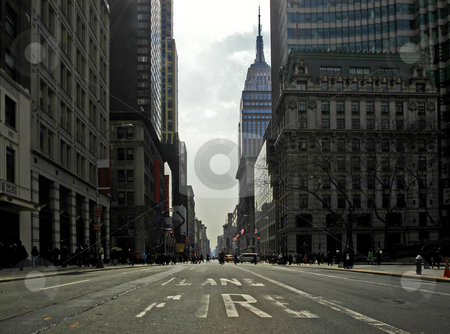 Fifth Avenue stock photo, Fifth Avenue on st. Patrick's Day. The empty firelane in a backlit scene by Corepics VOF