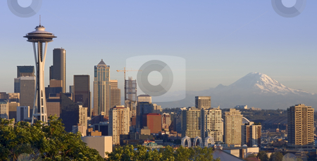 Seattle and the Mountain stock photo, The Seattle skyline on a clear autumn evening with Mount Rainier in the background by Corepics VOF