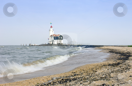 Paard van Marken stock photo, The lighthouse on the Peninsula of Marken on the IJsselmeer, the Netherlands, aptly called