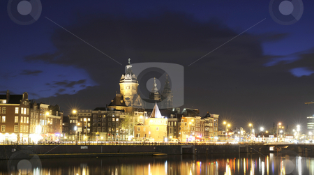 Amsterdam by night stock photo, The beautifully lit monumental buildings in Amsterdam city Center at night by Corepics VOF