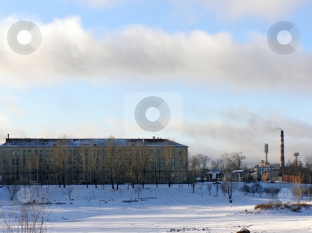 Industrial  town stock photo, Winter view of the industrial town buildings by Sergej Razvodovskij