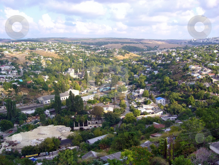 Small town view stock photo, The small town view over the hill by Sergej Razvodovskij