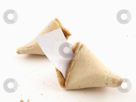 Fortune Cookie Says stock photo, A broken fortune cookie over a white background. Cookie has blank fortune sticking out of one side. by Robert Gebbie
