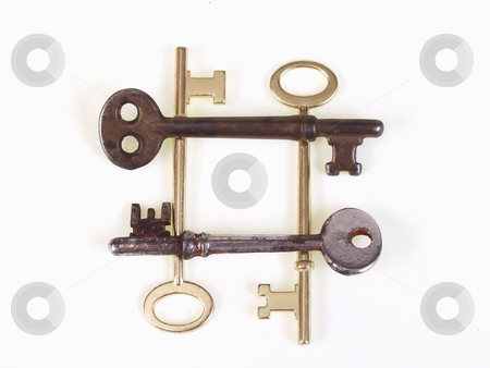 Old Keys in a square stock photo, A group of old metal skeleton keys, isolated on a white background. by Robert Gebbie