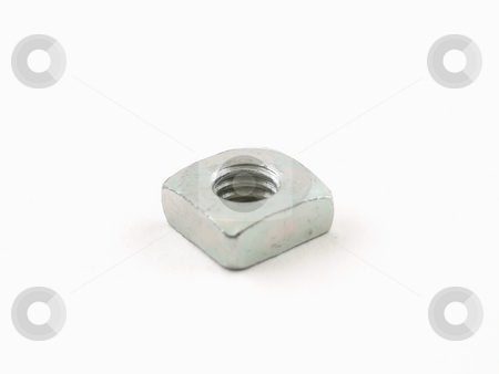 Steel Nut stock photo, A single steel nut isolated on a white background. by Robert Gebbie