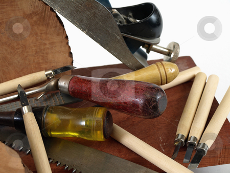 Woodworking Tools stock photo, An arrangement of various wood working tools, over a white background. by Robert Gebbie