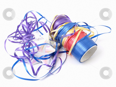 Tangle of Ribbons stock photo, A tangle of colorful ribbons isolated against a white background. by Robert Gebbie