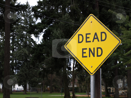 Dead End Sign stock photo, A mounted Dead End sign with a park in the background. by Robert Gebbie