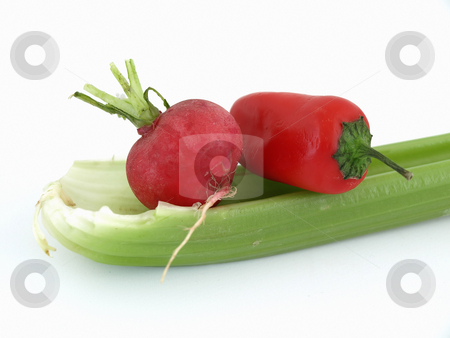 Radish, Pepper and Celery stock photo, Red radish, pepper and green celery stalk isolated against a white background. by Robert Gebbie