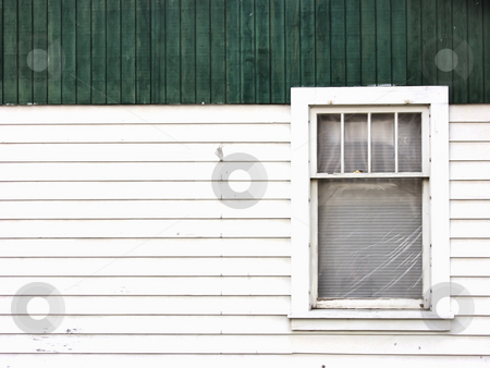 Tenament Window stock photo, A single window covered in plastic to hold in the heat. Exterior shot. by Robert Gebbie