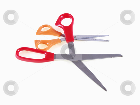 Scissors on White stock photo, Two pairs of scissors on a white background. One pair is open with a red handle, the other almost closed with an orange handle. by Robert Gebbie
