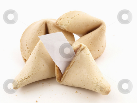Fortune Cookies Fortune stock photo, A broken fortune cookie with whole cookies over a white background. Cookie has blank fortune sticking out of one side. by Robert Gebbie