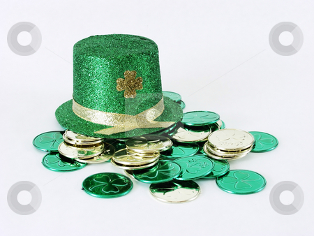 Irish hat with coins stock photo, A green St. Patrick's Day leprechaun hat and gold and green coins on a white background by Robert Gebbie