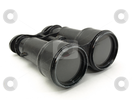 Field Issue Binoculars stock photo, Antique black military issue field binoculars isolated on a white background. by Robert Gebbie