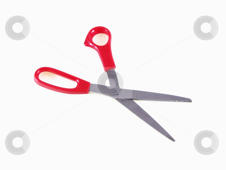 Ready to Cut stock photo, A pair of red handled scissors lays open on a white background. by Robert Gebbie