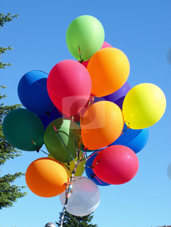 Balloons stock photo, A colorful bouquet of balloons in the sky by Robert Gebbie