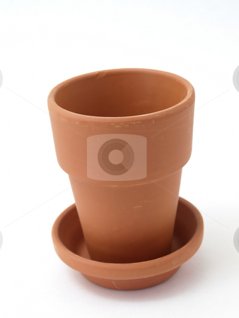 Garden Pot stock photo, A solitary terra cotta pot studio isolated on a white background. by Robert Gebbie