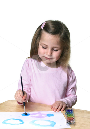 Little girl painting stock photo, Cute little girl with watercolor paints and paintbrush enjoying painting on paper by Anita Peppers