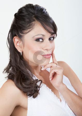 Pretty Hispanic Woman stock photo, Pretty Hispanic woman in a white top by Scott Griessel