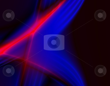 Dance of Lights in the dark. stock photo, Dance of Blue and Red Lights in the dark. Computer generated abstract background. by Germán Ariel Berra
