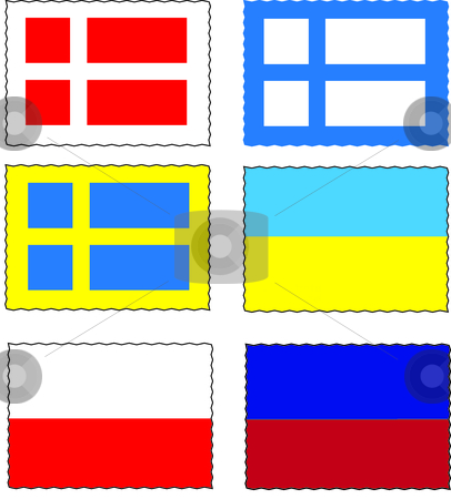 National stamp stock vector clipart, This is a set of national flag of six country by Veronika Pilatova