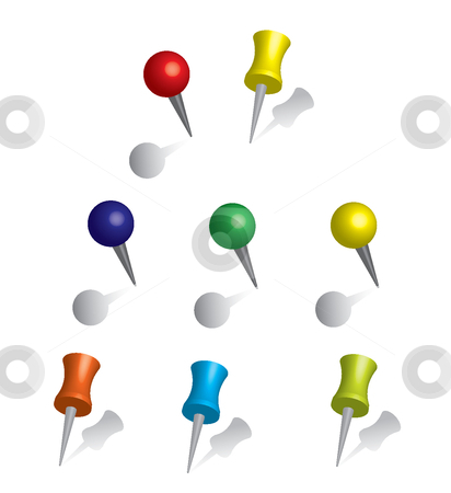 Color pushpin stock vector clipart, This is a set of pushpins. by Veronika Pilatova
