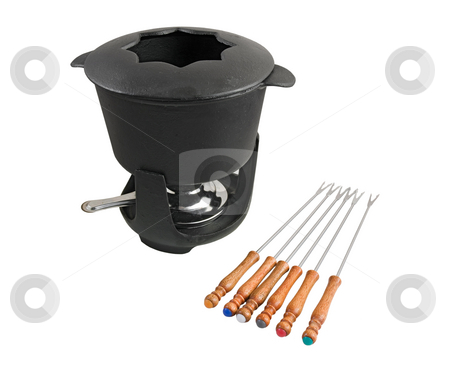 Fondue set  stock photo, Characteristic cast iron set used for fondue or bourguignonne on white background by ANTONIO SCARPI