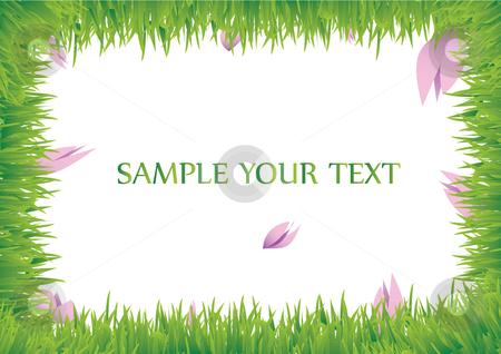 Grass frame with violet flower stock vector clipart, This a grass frame with violet flower by Veronika Pilatova