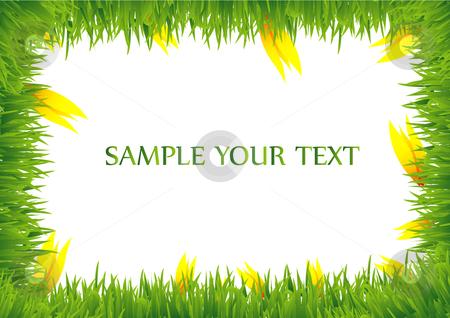 Grass frame with yellow tulips stock vector clipart, This is a grass frame with yellow tulips by Veronika Pilatova