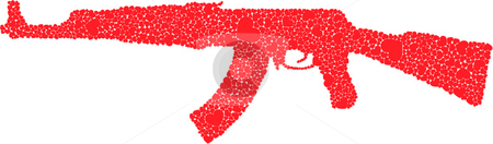 Gun of Hearts stock vector clipart, An AK47 gun made out of hearts! by Landon Rohatensky