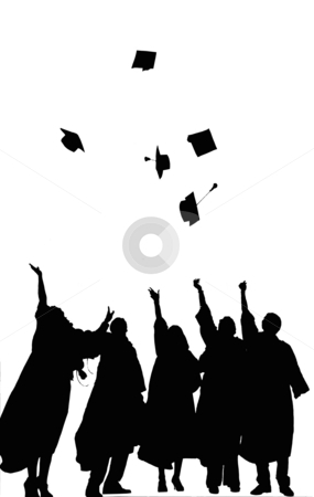 Graduation stock photo, A Silhouette of Graduates Tossing their Caps black and white by Tudor Antonel adrian
