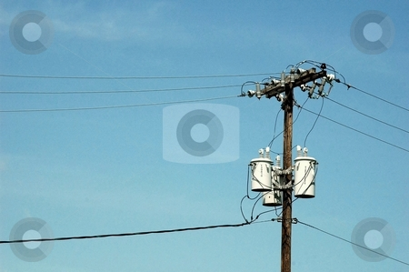 Power lines stock photo, This is a telephone pole with the transformers on it. by Joe Shortridge