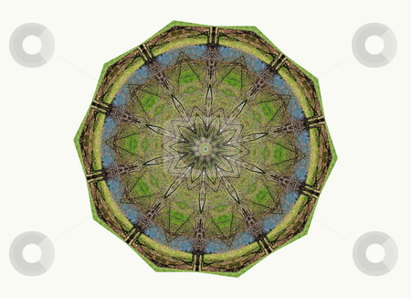 Mossy stock photo, Mossy green, earthy looking mandala by Sandra Fann
