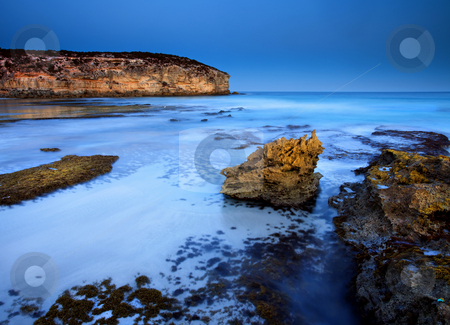 Moonlight Glow stock photo, A bit of full glow on the cliffs at Pennington Bay, South Australia by Mike Dawson