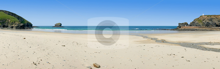 Panoramic view of Portreath beach in Cornwall, UK. stock photo, Panoramic view of Portreath beach in Cornwall, UK. by Stephen Rees