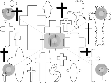 Set of cross stock vector clipart, This is a set of cross at outline by Veronika Pilatova