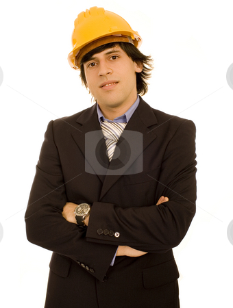 Yellow helmet man stock photo, Yellow helmet man white isolate by Marc Torrell