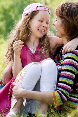 Happy childhood stock photo, Mother and daughter have a happy time together by Frenk and Danielle Kaufmann