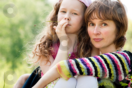 Portrait ot mother and daugther stock photo, Mother and daughter have a happy time together by Frenk and Danielle Kaufmann