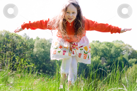 Like an airplane stock photo, Beautifull child  in the nature by Frenk and Danielle Kaufmann