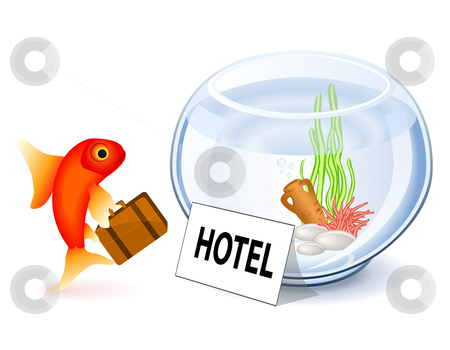 Goldfish Hotel stock vector clipart, Goldfish arriving at the hotel by Laurent Renault