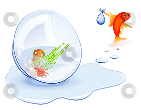 Goldfish Homeless stock vector clipart, Goldfish moving from his spilled fishbowl by Laurent Renault