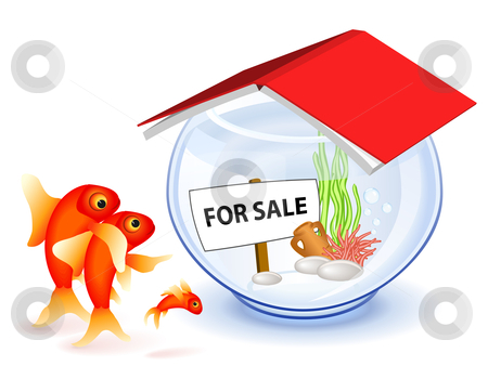 Goldfish new house stock vector clipart, Goldfish family in front of the new house by Laurent Renault