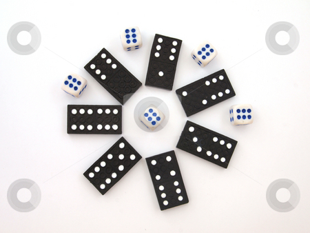 Dominos and dice. stock photo, Dominos and dice ,used to play with for fun or money. by Ian Langley