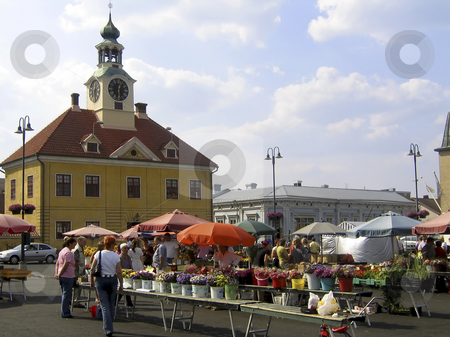 Flower market stock photo, Flower market in the main square of the old town of Rauma, Finland by Alessandro Rizzolli