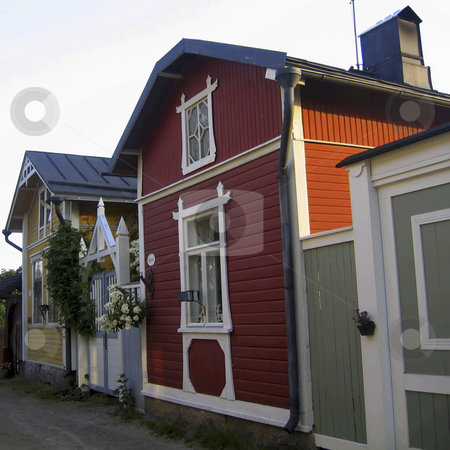 Colorful houses stock photo, Typical Finnish houses in the old town of Rauma, Finland by Alessandro Rizzolli
