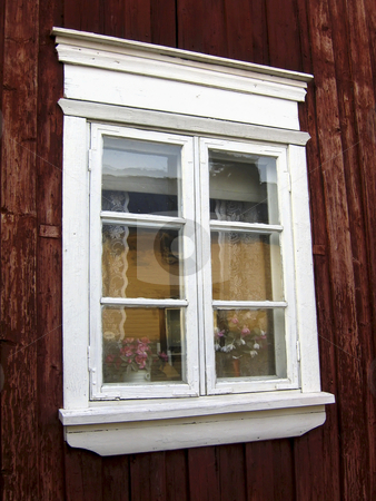 White window stock photo, A white window of a typical wooden house of Rauma, Finland by Alessandro Rizzolli